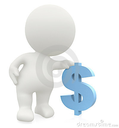 3D man leaning on a dollar