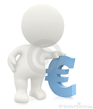 3D man leaning on an euro sign