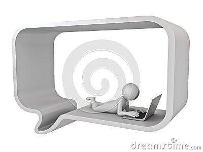 3d man lie down in speech bubble using laptop