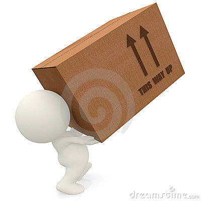 3D man lifting cardboard box
