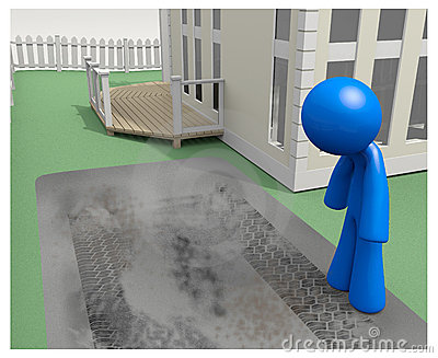 3d Man Looking at Tire Tracks in Driveway