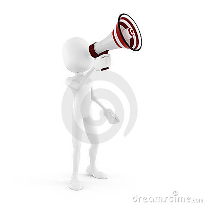 3d man with megaphone isolated in white