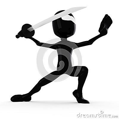 3d man ninja, holding a katana:)