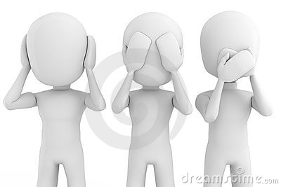 3d man No see, talk or hear, isolated on white