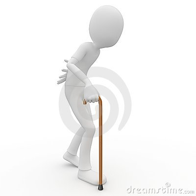 3d man old with walking stick