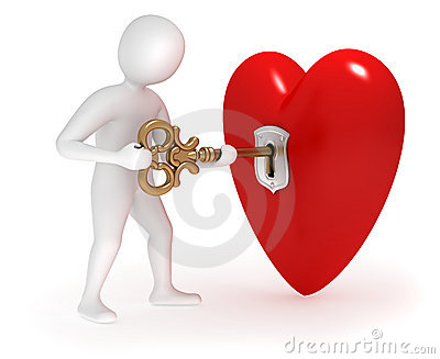 3d man opening heart with gold key