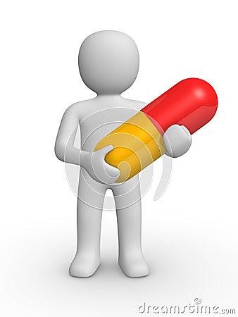 3d man with a pill