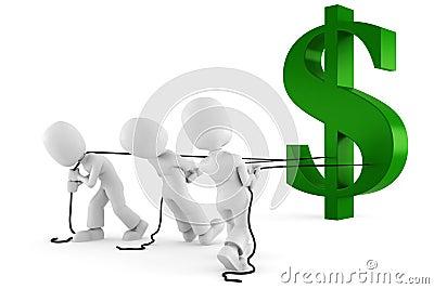 3d man pulling the dollar symbol
