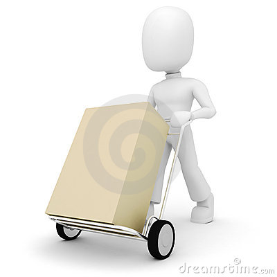 Free 3d Man Pushing A Shopping Cart Stock Image - 13289941