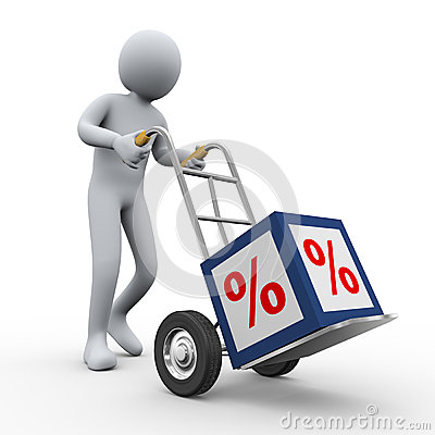 Free 3d Man Pushing Percent Cube Trolley Stock Photos - 27385863