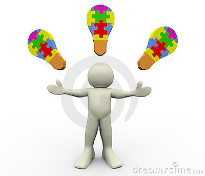 3d man puzzle bulbs