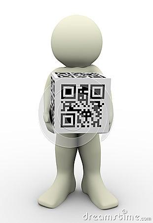 3d man and qr code (matrix barcode)