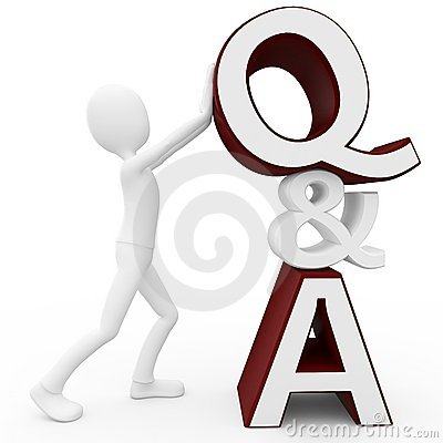 3d man with question and answer sign
