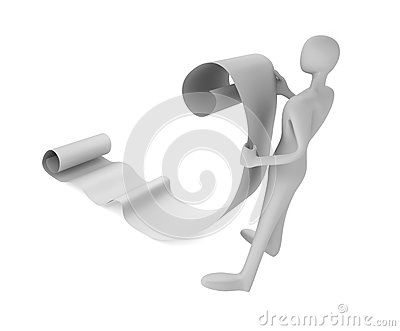 3d man reading a paper scroll