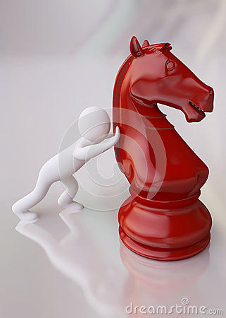 3D Man with Red Chess Horse