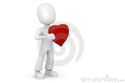 3d man with a red heart in hes hands