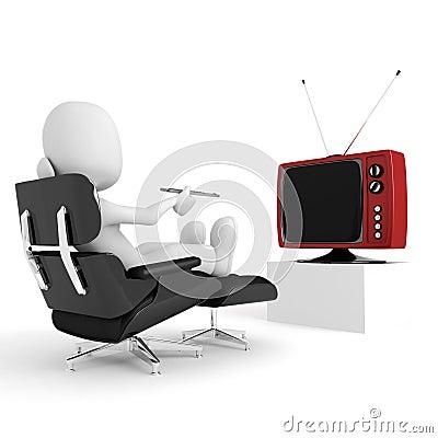 3d man relaxing and watching tv, studio render