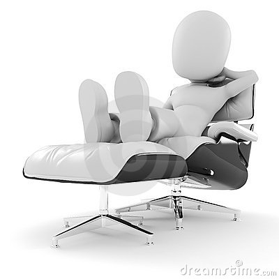 3d man, relaxing on white arm-chair