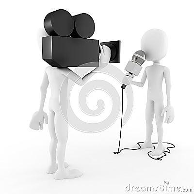 3d man reporter - interview concept