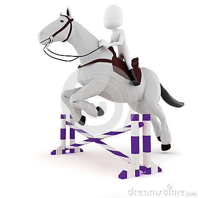 3d man riding a horse on white background
