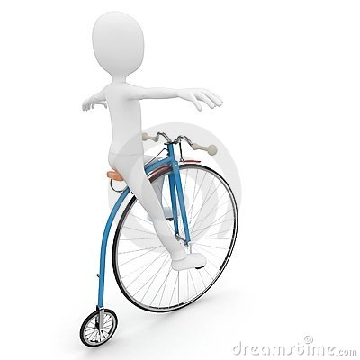 3d man riding vintage bike