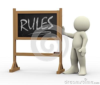 3d man with rules written blackboard