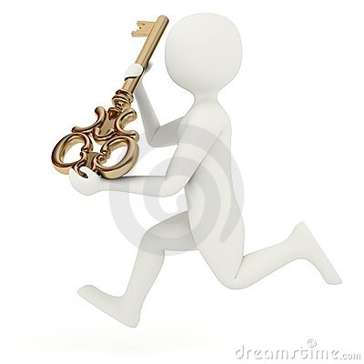 3d man running with big key