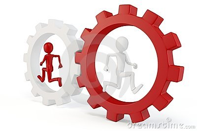 3d man running with red and white gears