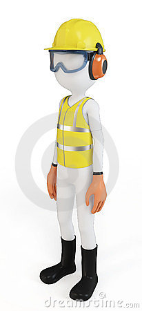 3d man with safety equipment