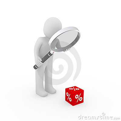 Free 3d Man Sale Cube Loupe Percent Stock Photos - 19592463