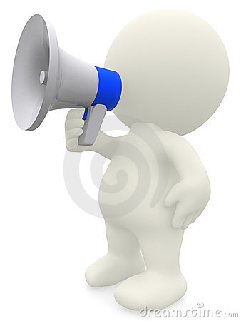 3D man shouting on a megaphone