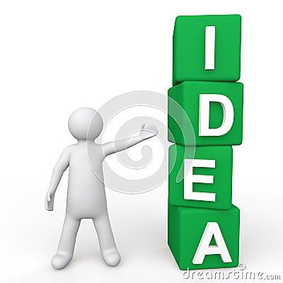 Free 3d Man Showing Green Idea Cubes Royalty Free Stock Photos - 57811768