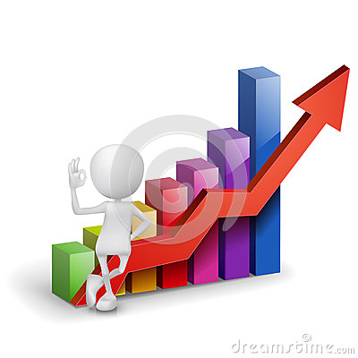 Free 3d Man Showing Okay Hand Sign With A Bar Chart Royalty Free Stock Images - 36750789