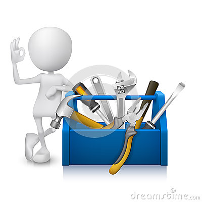 Free 3d Man Showing Okay Hand Sign With A Toolbox With Tools Royalty Free Stock Photos - 36750808