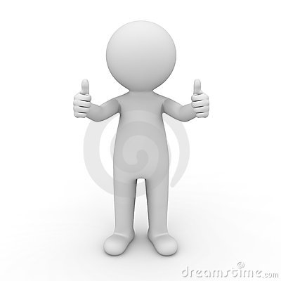 3d man showing thumbs up