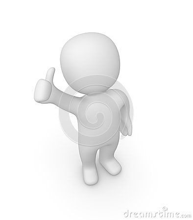 Free 3d Man Showing Thumbs Up Sign Royalty Free Stock Image - 35185676