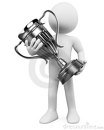 3D man with a silver trophy in the hands