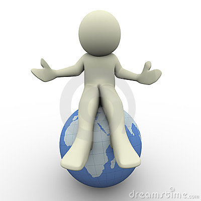 3d man sitting on globe