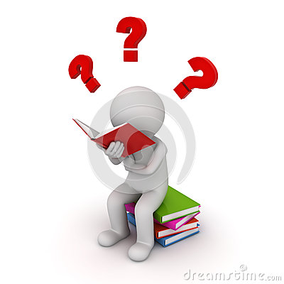 Free 3d Man Sitting On A Pile Of Books And Reading With Red Question Marks Stock Image - 74509311