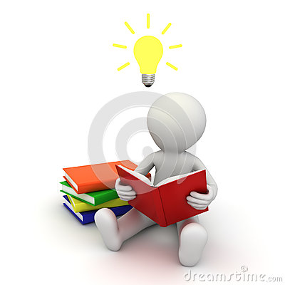 Free 3d Man Sitting On The Floor And Reading A Book With Idea Bulb Above His Head Stock Images - 28738324