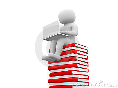3d man sitting on a pile of books working at his lapop.