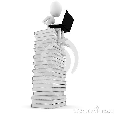 3d man sitting on a pile of books working on his laptop