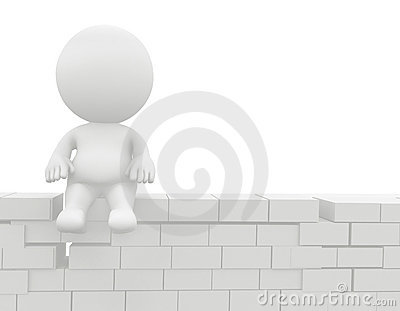 3D man sitting on the wall