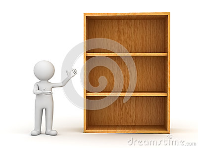 3d man standing and presenting wood shelves