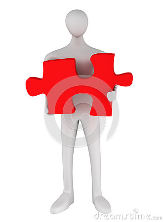 3d man standing with puzzle