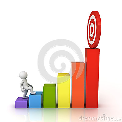 Free 3d Man Stepping Up To His Successful Goal Target On Top Of Business Graph Stock Image - 42959031