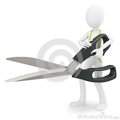 3d man tailor with scissor