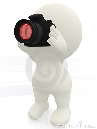 3D man taking a picture