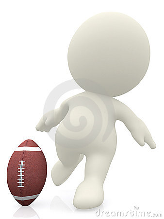 3D man about to kick a football ball