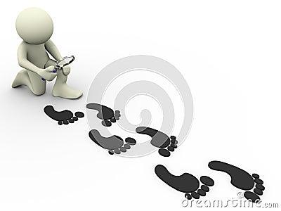3d man tracing footprints